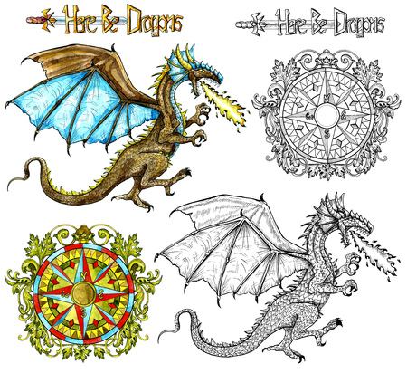 Design set with fantasy dragon snorting fire and baroque compass isolated on white. Watercolor nautical doodle illustration, fantasy adventure and vintage transportation concept Stock Photo