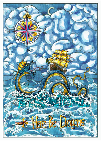 Sea dragon Leviathan and old sailboat, compass, in sea storm with waves. Watercolor nautical illustration, fantasy adventure and vintage transportation concept