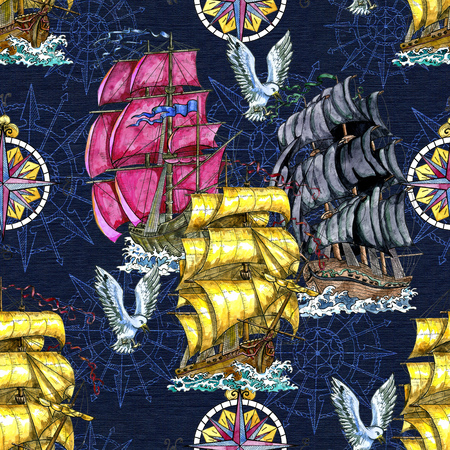 Seamless pattern with old sailing ship, decorated compass, flying gull on blue. Graphic nautical illustration, historical adventure concept, vintage transportation background