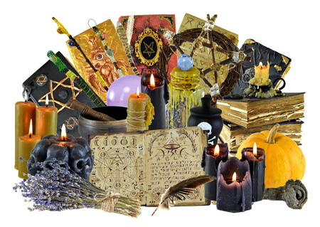 Design collage with group of magic ritual objects, witch book, candles isolated on white. Wicca, esoteric, divination and occult concept with vintage magic objects for mystic rituals Stock Photo