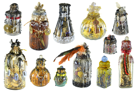 Design set with magic decorated witch bottles isolated on white. Wicca, esoteric, divination and occult concept with vintage magic objects for mystic rituals