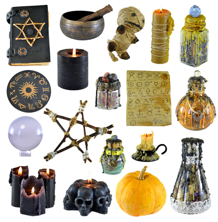 Design set with pentagram, pumpkin, witch book, black candle isolated on white. Wicca, esoteric, divination and occult concept with vintage magic objects for mystic rituals Stock Photo