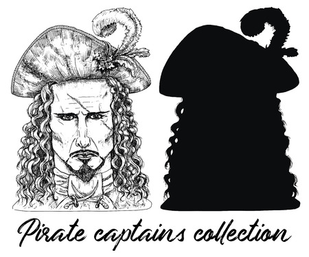 Pirate captain with scar and silhouette isolated on white. Hand drawn engraved vector illustration of sailor, seaman or seafarer in old vintage style