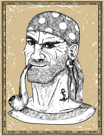 Portrait of seaman, pirate captain or boatswain smoking pipe on texture background. Hand drawn engraved vector illustration of sailor, seaman or seafarer in old vintage style Ilustração