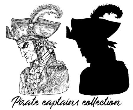 Pirate captain in hat and silhouette isolated on white. Hand drawn engraved vector illustration of sailor, seaman or seafarer in old vintage style Ilustração