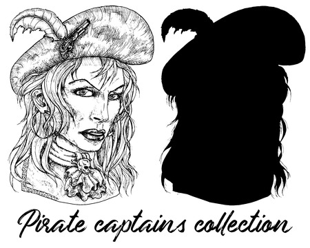 Beautiful pirate captain woman and sillhouette isolated on white. Hand drawn engraved vector illustration of sailor, seaman or seafarer in old vintage style