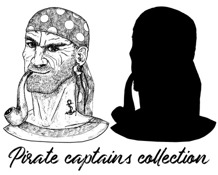 Sea captain, pirate or boatswain and silhouette isolated on white. Hand drawn engraved vector illustration of sailor, seaman or seafarer in old vintage style