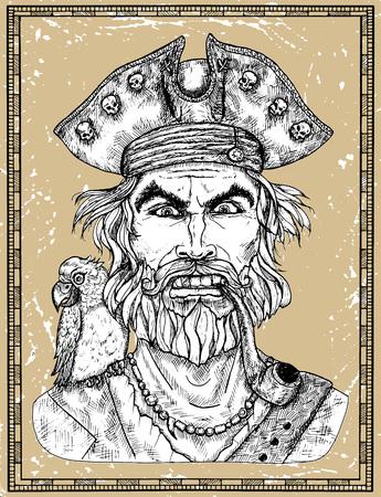 Portrait de capitaine pirate en colère avec barbe et perroquet sur fond de texture. Illustration vectorielle gravée à la main d'un marin, d'un matelot ou d'un marin dans un style vintage ancien