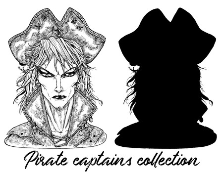 Handsome pirate captain and silhouette isolated on white. Hand drawn engraved vector illustration of sailor, seaman or seafarer in old vintage style