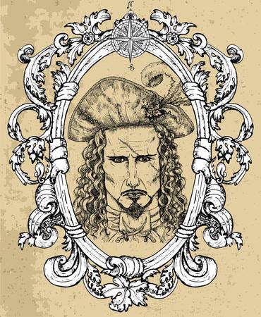 Portrait du capitaine pirate effrayant avec cicatrice sur le visage sur fond de texture. Illustration vectorielle gravée à la main d'un marin, d'un matelot ou d'un marin dans un style vintage ancien