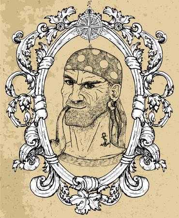 Porträt des Seemanns, des Piratenkapitäns oder des Bootsmanns, der Pfeife auf Beschaffenheitshintergrund raucht. Handgezeichnete gravierte Vektorillustration von Matrose, Matrose oder Seemann im alten Vintage-Stil Vektorgrafik