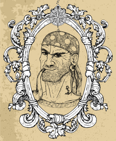 Portrait of seaman, pirate captain or boatswain smoking pipe on texture background. Hand drawn engraved vector illustration of sailor, seaman or seafarer in old vintage style Ilustración de vector
