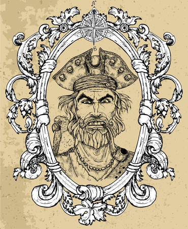 Portrait of angry pirate captain with beard and parrot on texture background. Hand drawn engraved vector illustration of sailor, seaman or seafarer in old vintage style