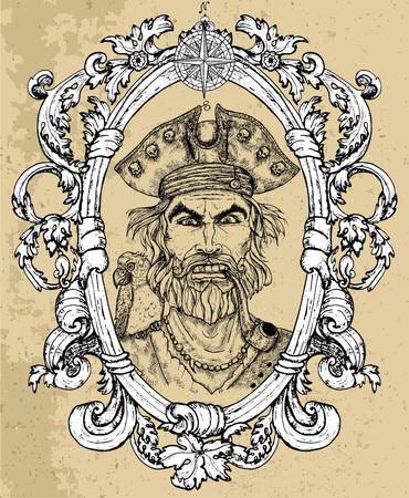 Ritratto di capitano pirata arrabbiato con barba e pappagallo su sfondo texture. Illustrazione vettoriale incisa disegnata a mano di marinaio, marinaio o marinaio in vecchio stile vintage