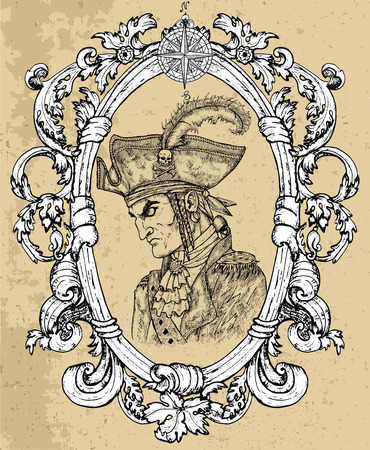 Pirate captain portrait in frame on texture background. Hand drawn engraved vector illustration of sailor, seaman or seafarer in old vintage style