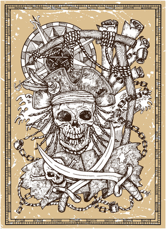 Scary pirate skull in gallows noose with Jolly Roger flag, compass, sabres in frame on texture. Vector graphic illustration with adventure concept in vintage style, old transportation background