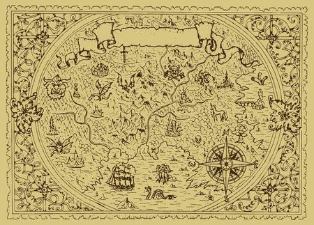 Mappa di fantasia vettoriale con cornice decorativa barocca e creature mitologiche. Illustrazione grafica disegnata a mano, vecchio sfondo di trasporto in stile vintage