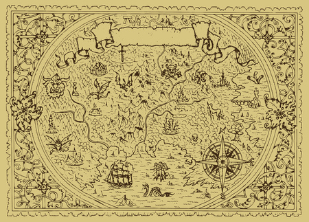 Vector fantasy map with baroque decorative frame and mythology creatures. Hand drawn graphic illustration, old transportation background in vintage style