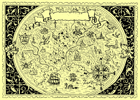 Vector map of fantasy land with pirates, compass, dragons, mermaids and gnomes. Hand drawn graphic illustration, old transportation background in vintage style