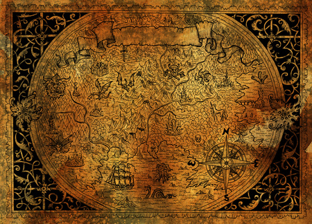Vintage fantasy world map with pirate ship, compass, dragons on old paper texture. Hand drawn graphic illustration, old transportation background in vintage style Archivio Fotografico