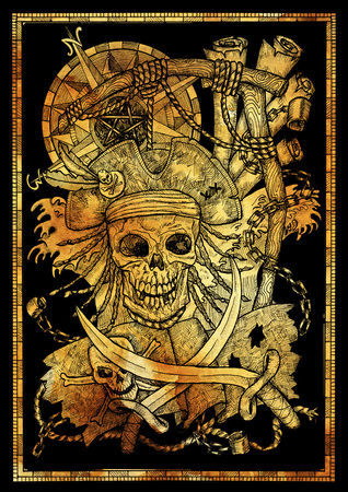 Golden silhouette of pirate skull and Jolly Roger in gallows noose with compass on black. Graphic illustration with adventure concept in vintage style, old transportation background