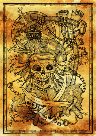 Jolly Roger skull in gallows noose with compass, rope and sabre on old paper texture. Graphic illustration with adventure concept in vintage style, old transportation background