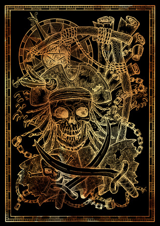 Golden pirate skull with rope for gallows noose, compass, Jolly Roger and sabre on black. Graphic illustration with adventure concept in vintage style, old transportation background