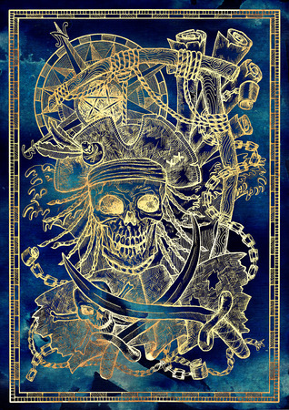 Pirate captain skull with rope on gallows, Jolly Roger flag and sabre on blue tetxure. Graphic illustration with adventure concept in vintage style, old transportation background