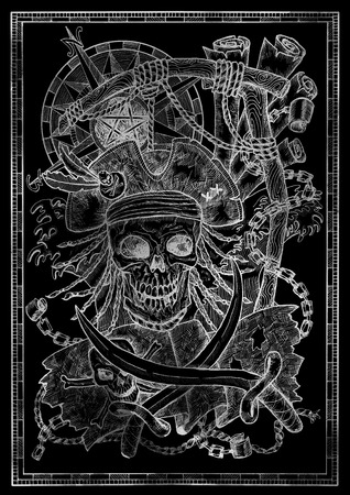 White silhouette of Jolly Roger skull, pirate skeleton and gallows noose on black. Graphic illustration with adventure concept in vintage style, old transportation background 写真素材 - 121698416