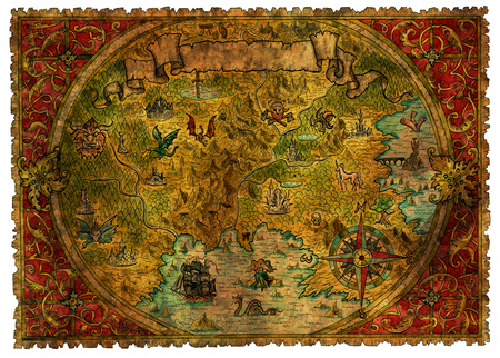 Ancient pirate map of treasures with dragons. Hand drawn graphic illustration of world atlas with vignette banner and victorian frame, old transportation vintage background