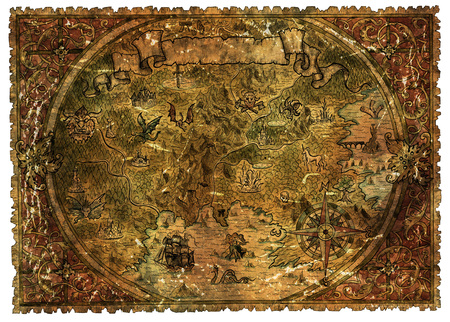 Pirate map of fantasy lands with dragons and mermaids. Hand drawn graphic illustration of world atlas with vignette banner and victorian frame, old transportation vintage background Banco de Imagens