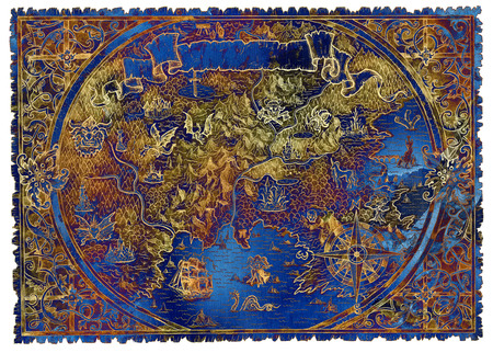 Blue and gold fantasy pirate map of treasures. Hand drawn graphic illustration of world atlas with vignette banner and victorian frame, old transportation vintage background
