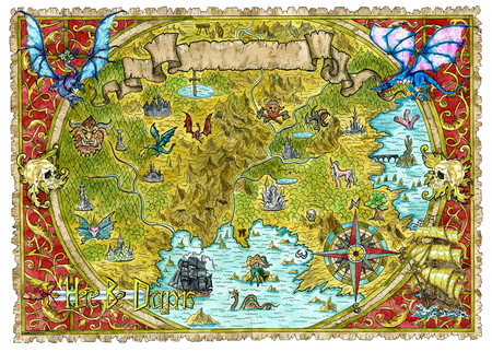 Watercolor pirate map of fantasy world with dragons. Hand drawn graphic illustration of world atlas with vignette banner and victorian frame, old transportation vintage background Banco de Imagens