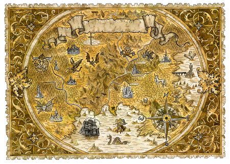 Old pirate map of fantasy world with dragons. Hand drawn graphic illustration of world atlas with vignette banner and victorian frame, old transportation vintage background Archivio Fotografico