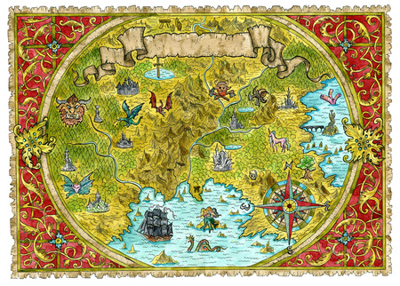 Watercolor pirate treasures map of fantasy world. Hand drawn graphic illustration of world atlas with vignette banner and victorian frame, old transportation vintage background