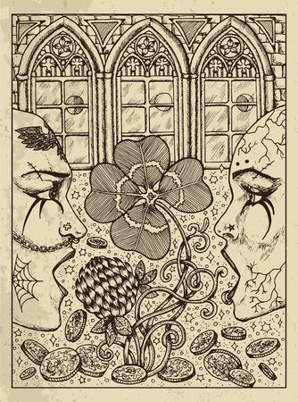 Clover. Mystic concept for Lenormand tarot card. Vector engraved illustration. Fantasy line art drawing and tattoo sketch. Gothic, occult and esoteric background