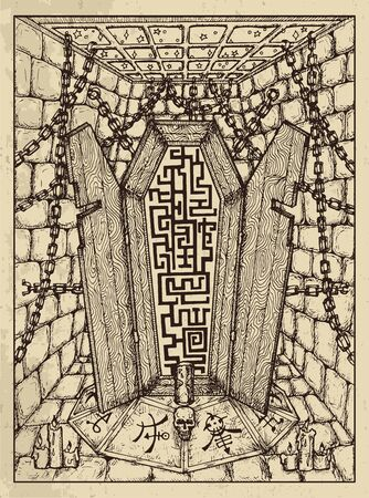 Coffin. Mystic concept for Lenormand tarot card. Vector engraved illustration. Fantasy line art drawing and tattoo sketch. Gothic, occult and esoteric background