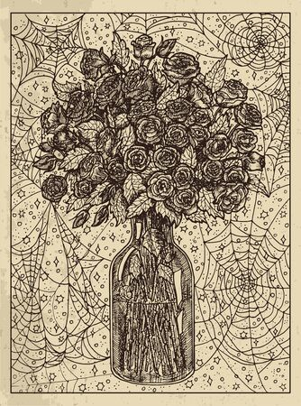 Bouquet. Mystic concept for Lenormand tarot card. Vector engraved illustration. Fantasy line art drawing and tattoo sketch. Gothic, occult and esoteric background Ilustração