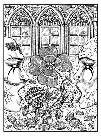 Clover. Black and white mystic concept for Lenormand tarot card. Graphic engraved illustration. Fantasy line art drawing and tattoo sketch. Gothic, occult and esoteric background
