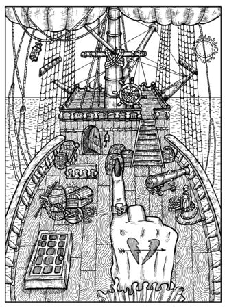 Ship. Black and white mystic concept for Lenormand tarot card. Graphic engraved illustration. Fantasy line art drawing and tattoo sketch. Gothic, occult and esoteric background 스톡 콘텐츠 - 127176895