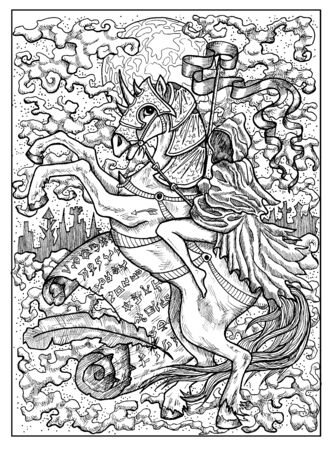 Rider. Black and white mystic concept for Lenormand tarot card. Graphic engraved illustration. Fantasy line art drawing and tattoo sketch. Gothic, occult and esoteric background