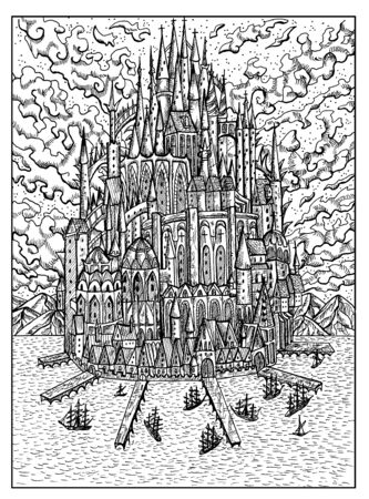 House. Black and white mystic concept for Lenormand   tarot card. Graphic engraved illustration. Fantasy line art drawing and tattoo sketch. Gothic, occult and esoteric background Imagens