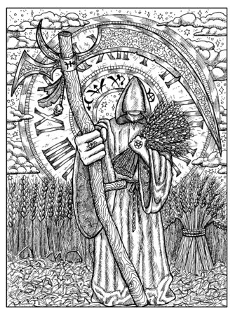 Scythe. Black and white mystic concept for Lenormand  tarot card. Graphic engraved illustration. Fantasy line art drawing and tattoo sketch. Gothic, occult and esoteric background Imagens