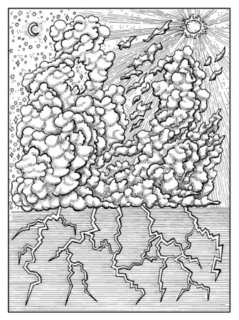 Cloud. Black and white mystic concept for Lenormand   tarot card. Graphic engraved illustration. Imagens