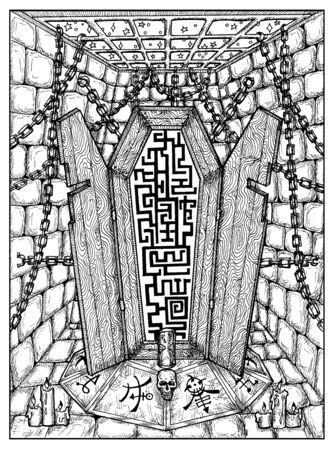 Coffin. Black and white mystic concept for Lenormand   tarot card. Graphic engraved illustration. Fantasy line art drawing and tattoo sketch. Gothic, occult and esoteric background