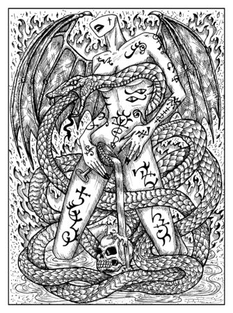 Snake. Black and white mystic concept for Lenormand tarot card. Graphic engraved illustration. Fantasy line art drawing and tattoo sketch. Gothic, occult and esoteric background
