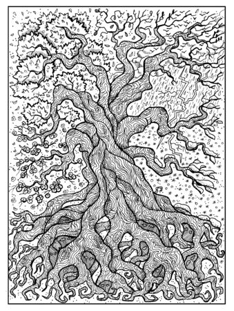 Tree. Black and white mystic concept for Lenormand   tarot card. Graphic engraved illustration. Fantasy line art drawing and tattoo sketch. Gothic, occult and esoteric background 스톡 콘텐츠 - 127177882