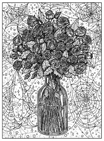 Bouquet. Black and white mystic concept for Lenormand   tarot card. Graphic engraved illustration. Fantasy line art drawing and tattoo sketch. Gothic, occult and esoteric background