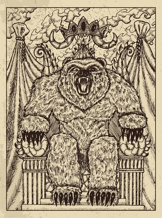 Bear. Mystic concept for Lenormand   tarot card. Vector engraved illustration. Fantasy line art drawing and tattoo sketch. Gothic, occult and esoteric background