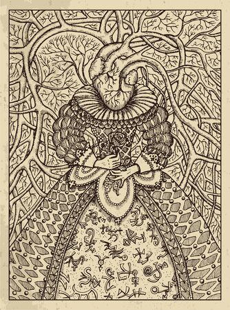 Heart. Mystic concept for Lenormand   tarot card. Vector engraved illustration. Fantasy line art drawing and tattoo sketch. Gothic, occult and esoteric background